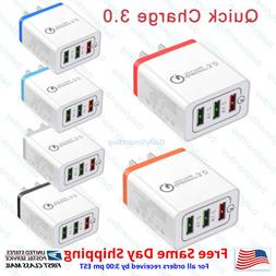 Fast Charge QC 3.0 30W 3-Port USB Wall Quick Charger Adapter