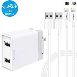 JAHMAI Fast Charging Cable 2Pack 6ft High Speed Data Sync Tr