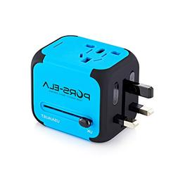 PORS-ELA 2.4A Dual USB International Travel Power Adapter wi
