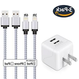 iPhone Charger Eashion 2.1A/5V Dual Port Travel Wall Power A