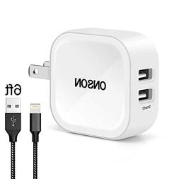Vanzon iPhone Charger, 4.8A 24W 2-Port Travel Wall Charger A