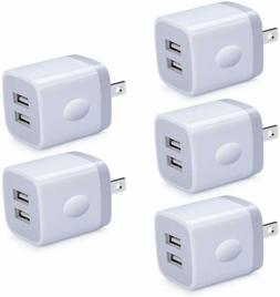 For Iphone ChargerUsb Wall Charger Block 5 Pack Usb Charging