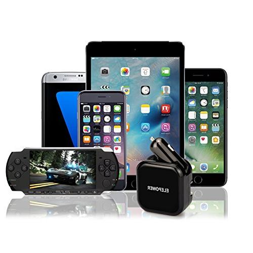 Elepower in Car Dual Ports in Charger for and More-Black