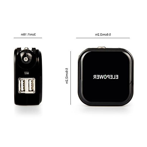 Elepower in Car and Wall Dual USB in Total Travel Charger for iPhone / Nexus, HTC, and More-Black