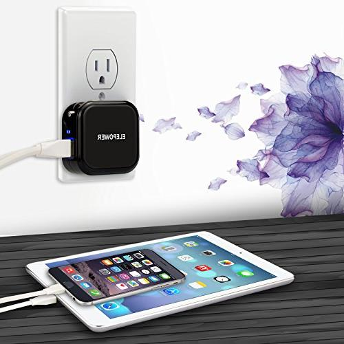 Elepower 1 Car and Wall Dual USB Ports 2.1A in Total / / Plus, Samsung Nexus, LG, and More-Black