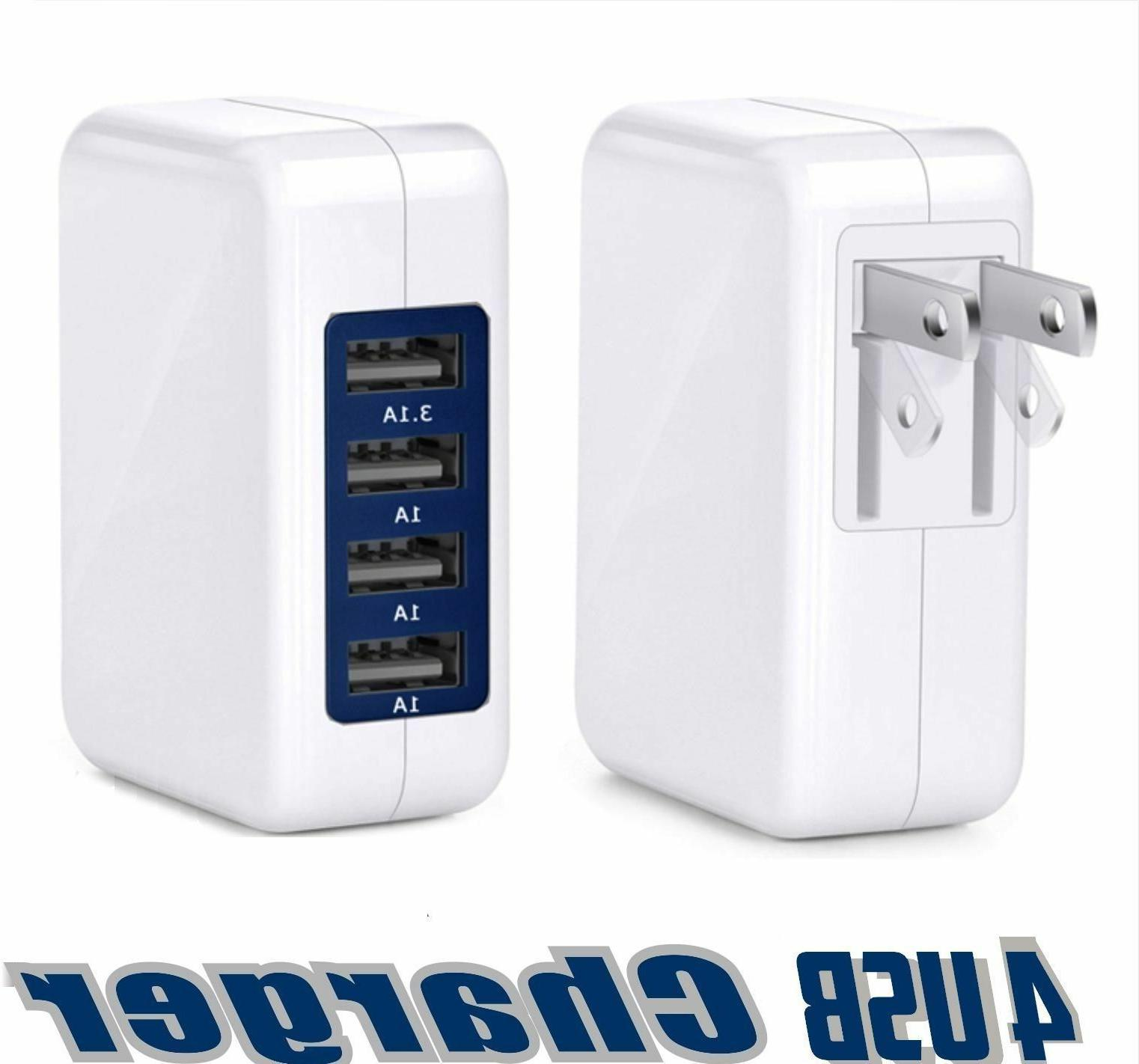 15W 3.1A  High Speed 4 Port USB Wall Charger For IPhone 8, 7