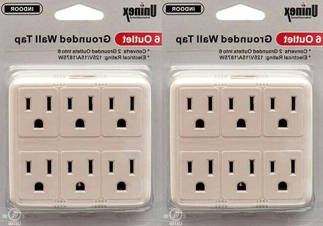 2 pack 6 outlet surge protector grounded