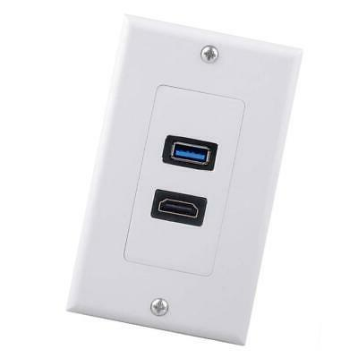 2x USB Wall Charger Plate HDMI Audio Video Panel