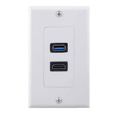 2x USB Wall Plate HDMI Component Video Wall Panel