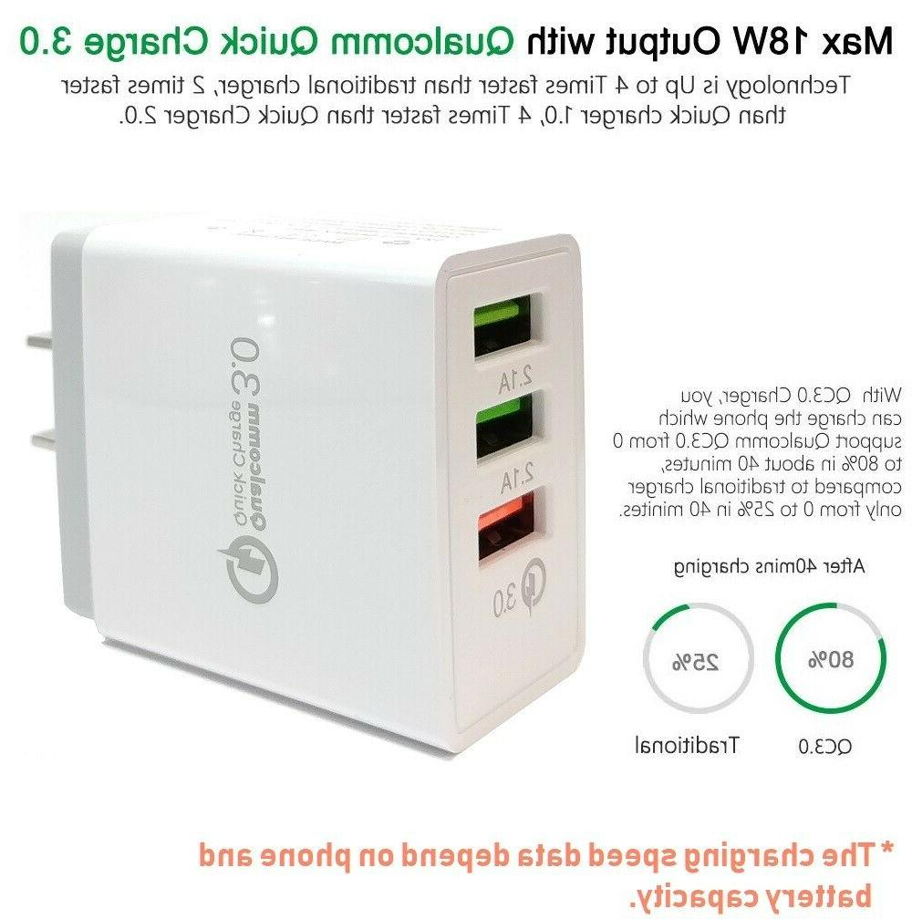 3-USB Ports Quick Fast Wall Qualcomm 3.0 Cube Adapter