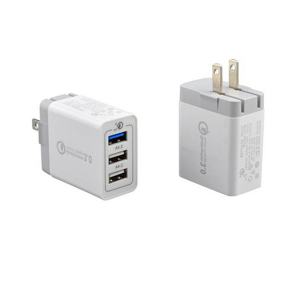 30W 3-Port USB Charger with Quick Charge iPhone Samsung