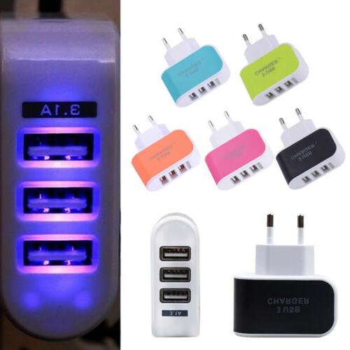 3USB Ports Charger Outlet Wall Charger Adapter Power Supply