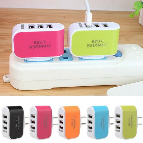 3USB Charger Outlet Travel Wall Charger Adapter Power Supply