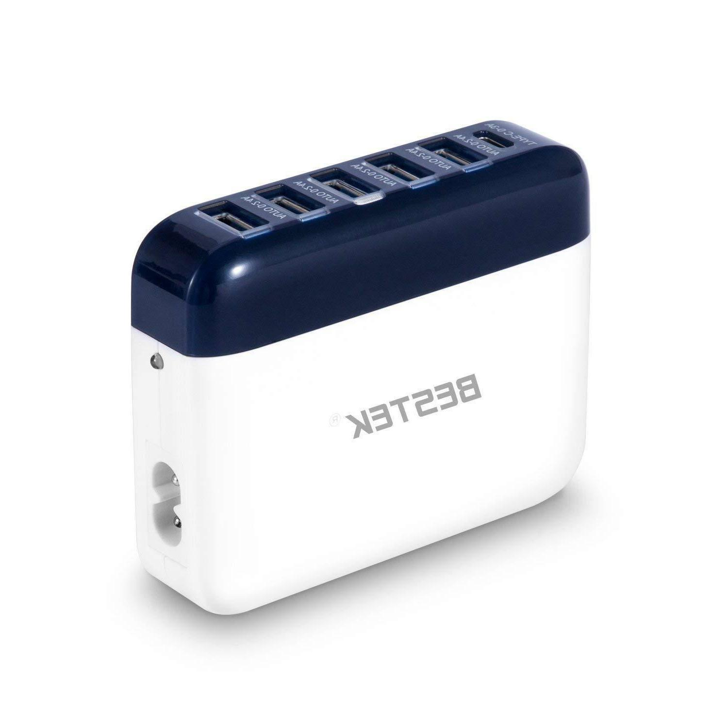 40W USB Wall Charger, BESTEK 6 Port 2.4A Quick Charger with