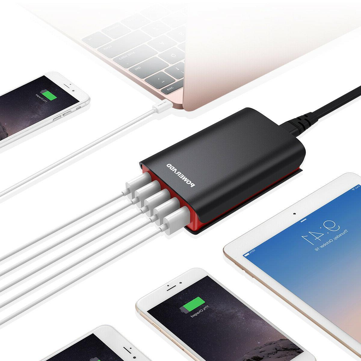 40W 5 USB Charger AC Charging Power