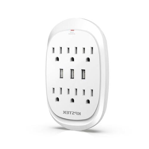 6 Outlet Surge Protector with 3 USB Ports, Wall Charger Plug