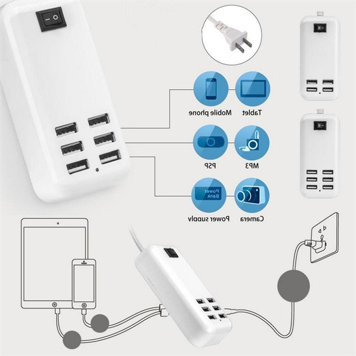 6 USB Multi-Function Fast Station AC Adapter US