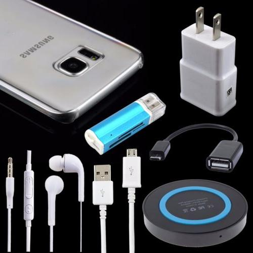 7 Bundle Wall Charger Qi Wireless Pad Case Cable for Samsung