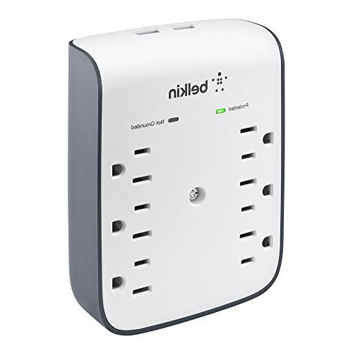 Belkin SurgePlus 6-Outlet Mount Surge Protector Dual USB Charging , BSV602tt