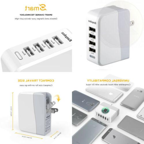 EasyAcc 20W 4A 4-Port USB Wall Charger with Folding Plug and