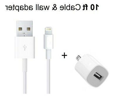 Home Wall Charger + 10ft USB Lightning Cord Cable OEM for iP