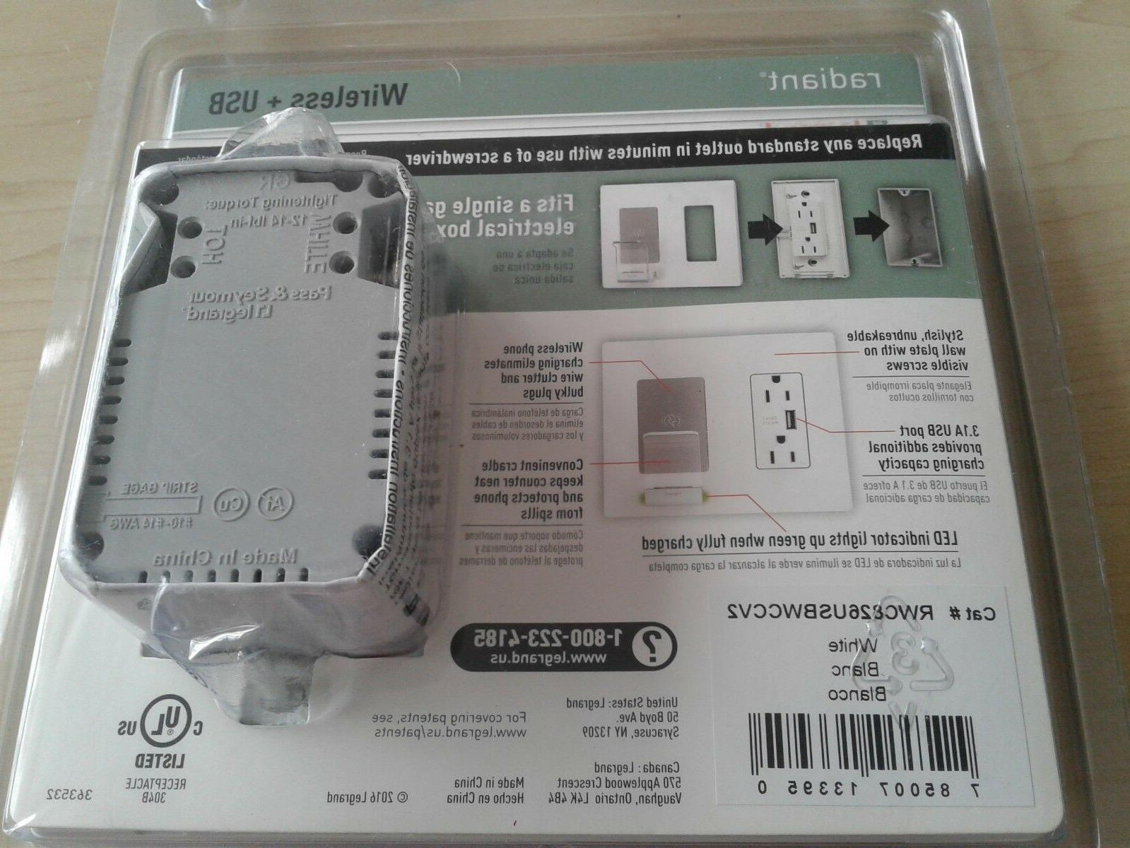 Legrand Charger+USB Plate White
