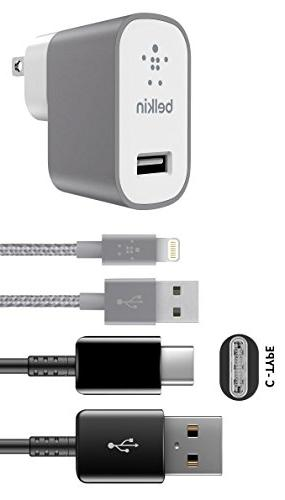 Official Belkin Universal USB- C Lighting 8pin Home/Car Charger Gray Android