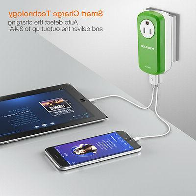 Poweradd Surge Protector with 2 USB Port Charger