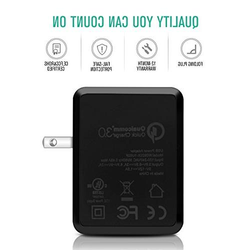 18W Charge 3.0 Charger Adapter Galaxy S9/ S8/ S6,Note 9/8,Nexus 6, G4