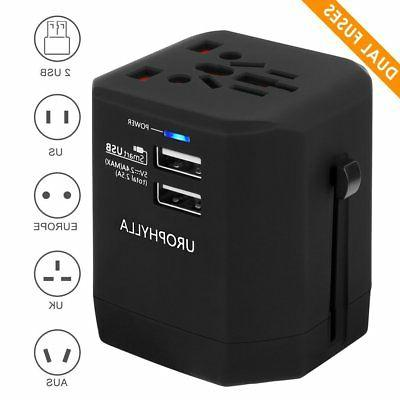 Travel Adapter,UROPHYLLA Universal Adapter Dual Fuses 2.5A U