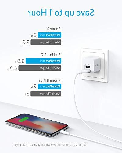 USB Charger, Dual Port Charger with PowerPort for iPhone Xs/XS Plus/7/6S/6S Plus, iPad, 5/ Note Moto, and More