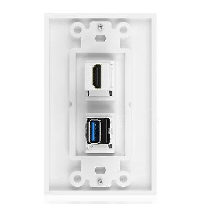 USB HDMI Outlet Wall Plate - 3.0 Charger & Receptacle