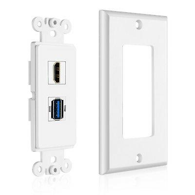 USB Outlet Plate - USB 3.0 Charger Receptacle Face Cover