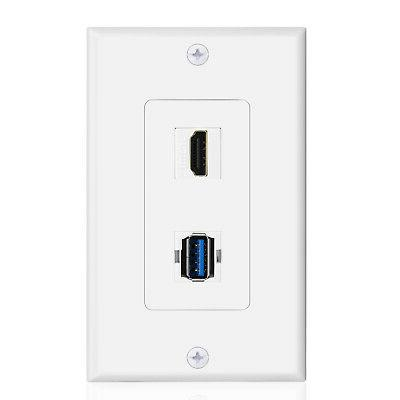 USB HDMI Outlet Wall Plate - USB 3.0 Charger & HDMI Port Rec