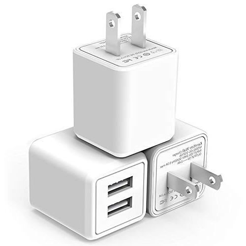 USB Wall Charger,Dual Port Rapid Speed Compact Universal USB