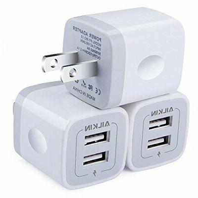Wall Charger,  5V/2.1AMP Ailkin 2-Port USB Home Travel Plug