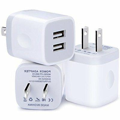 Wall Charger Plug Power Adapter Block Cube ,Kakaly 3-Pack Qu