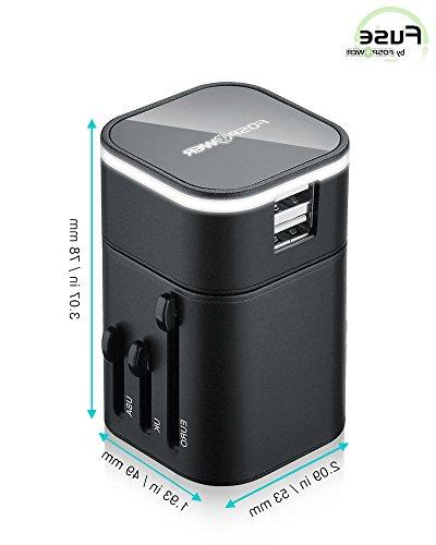 FosPower Converter Wall Travel Plug Charger with Dual Charging - Black