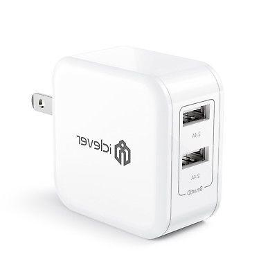 iClever BoostCube 4.8A 24W Dual USB Travel Wall Charger with