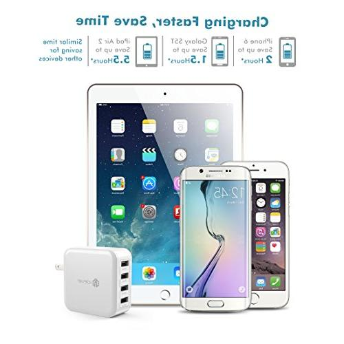 iClever 40W Universal Wall with Charging iPhone 7/6s/iPad, Battery Bluetooth Speaker and White
