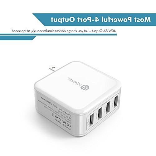 iClever BoostCube 40W 4-Port Universal with SmartID 8A Charging Station 7/6s/iPad, Bluetooth Speaker White