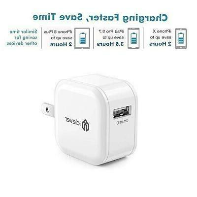 iClever Boostcube Charger,12W 2.4A 2Pack Quick Small, White