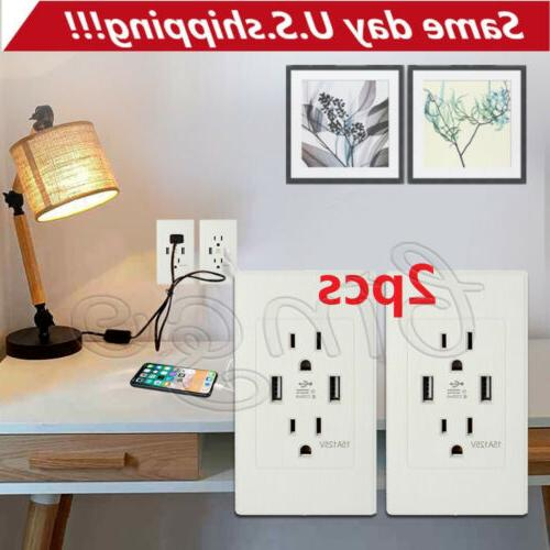 Dual USB Wall Socket Charger AC Power Receptacle Outlet 2 Pa
