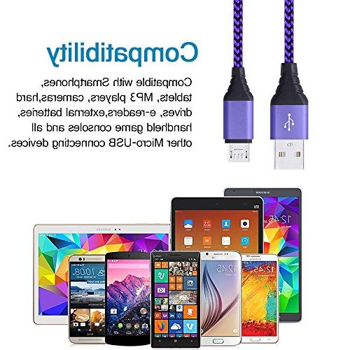 2 Pack Wall 5V Home Adapter Syncing Charging Cable Cord Compatible Samsung Edge, Motorola,