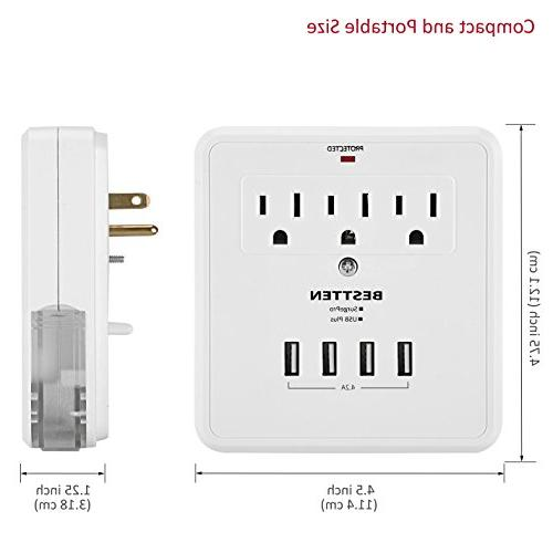 BESTTEN Plug, Wall Tap Surge with 3 Socket and 2 Slide-Out Holders, Certified, White