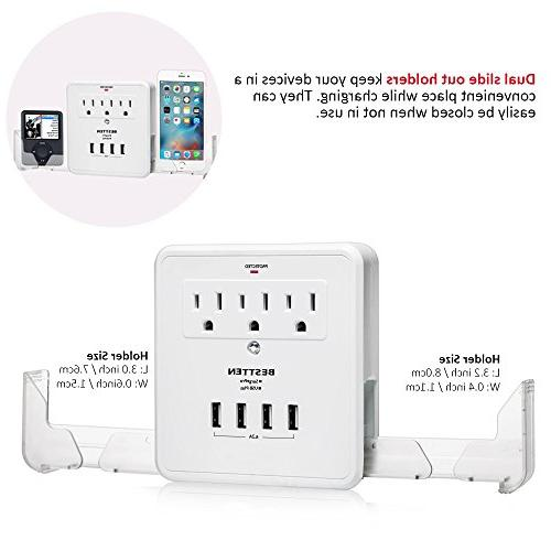 BESTTEN Multiple Plug, Wall Adapter Surge Protector USB Ports 3 AC Socket and 2 Slide-Out Holders, Certified,