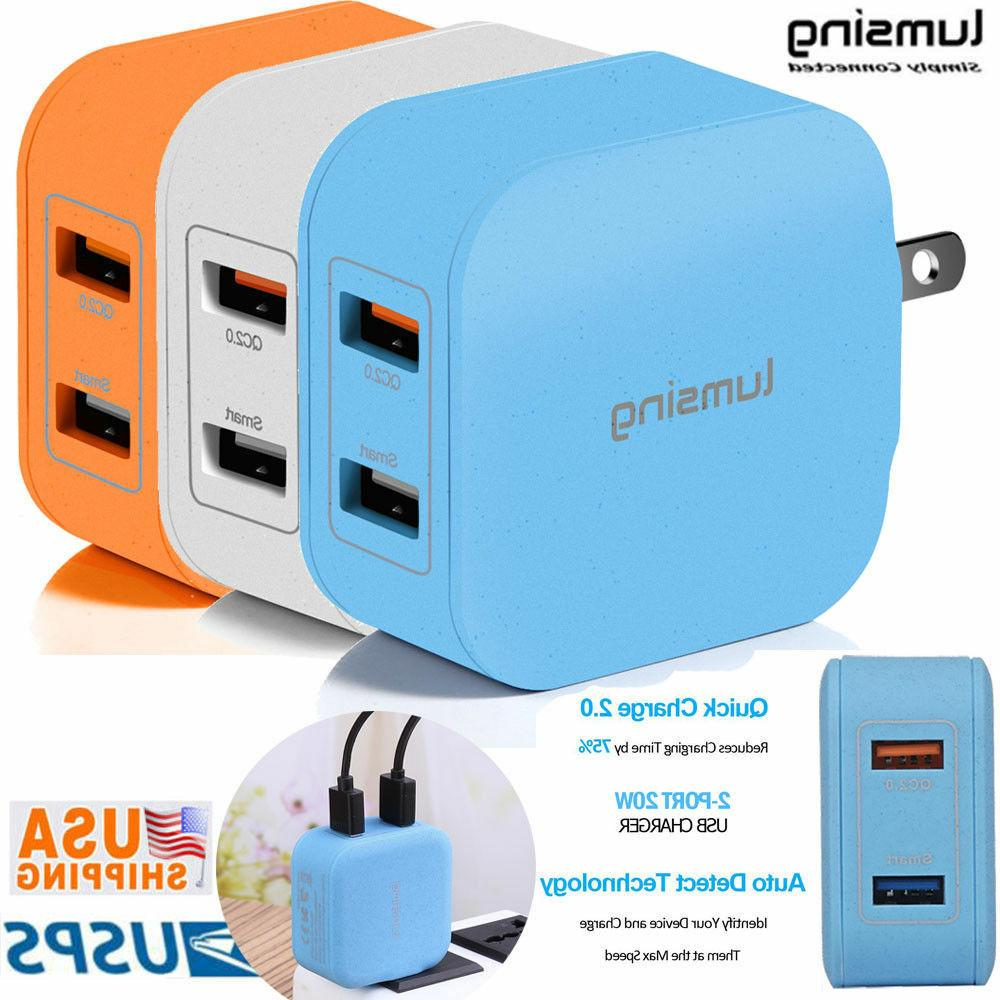 New Lumsing Multi 2 Port USB Wall Charger Adapter QC 2.0 Fas