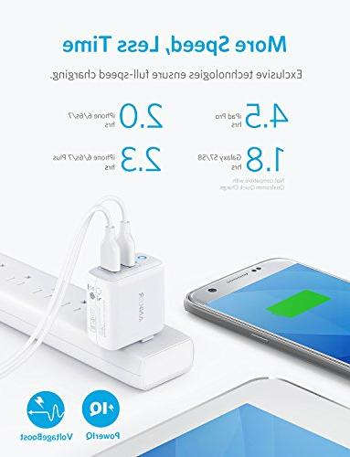 Anker Dual Wall Charger, PowerPort Ultra-Compact PowerIQ Technology Plug, iPad Pro/Air 4, Galaxy