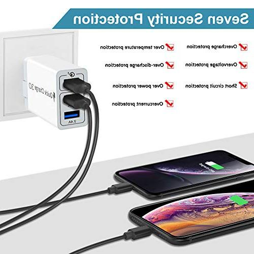 3 Ports Phone Charger Quick Plug Max/XR/8/8+/7P/7/6/5 Samsung S8/S7/S6/Edge/Note HTC