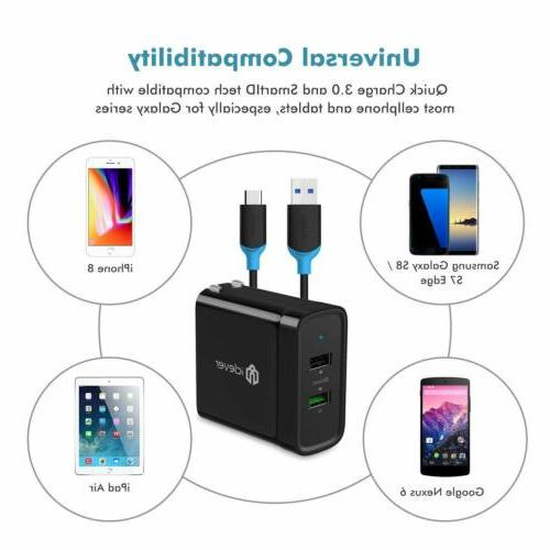 30W Fast Phones Dual USB 3.1 Amp Wall Charger+ Type-C Fast C